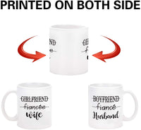 Couple Coffee Mug Husband and Wife Mugs Couple Cup Set of 2 Mug His and Her Coffee Mug Novelty Gift Present for Valentine's Day Wedding Engagement Anniversary Newlyweds for Couples 11 oz White New