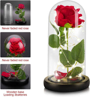 SLanC Beauty and The Beast Red Rose Artificial Flowers Enchanted Red Real Silk Rose Handmade Preserved Rose with Romantic Forever Rose in a Glass Dome Gift for LED Gift Mother's Day
