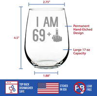 64 + 1 Middle Finger - 65th Birthday Stemless Wine Glass for Women & Men - Cute Funny Wine Gift Idea - Unique Personalized Bday Glasses for Mom, Dad, Friend Turning 65 - Drinking Party Decoration