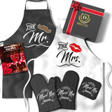 Mr & Mrs Aprons For Happy Couple | Best Bridal Shower Gifts For Bride, Engagement Gifts For Her, Wedding Gifts For The Couple- FREE Romantic Recipe Book, Oven Mitts & Potholder