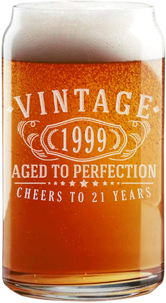 Vintage 1999 Etched 16oz Beer Can Glass - 21st Birthday Aged to Perfection - 21 years old gifts