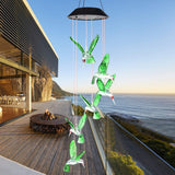 SIX FOXES Wind Chime, Solar Hummingbird Wind Chimes Outdoor/Indoor(Gifts for mom/momgrandma Gifts/Birthday Gifts for mom) Outdoor Decor,Yard Decorations,Memorial Wind Chimes,mom's Best Gifts