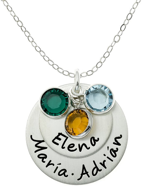 AJ's Collection Loving Names Personalized Sterling Silver Charm Necklace. Customize with up to 3 Names and 3 Swarovski Birthstones. Choice of 925 Chain. Gifts for Her, Wife, Mom, Grandmother