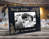 Newlywed Couples 7x5 Leather Picture Frame Engraved (Silver or Gold) Women Mens Wedding Anniversary Husband Wife Gift