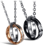 Feraco His Hers Matching Set Necklace for Couples Titanium Stainless Steel Promise Love Pendant Necklaces Gifts for Anniversary