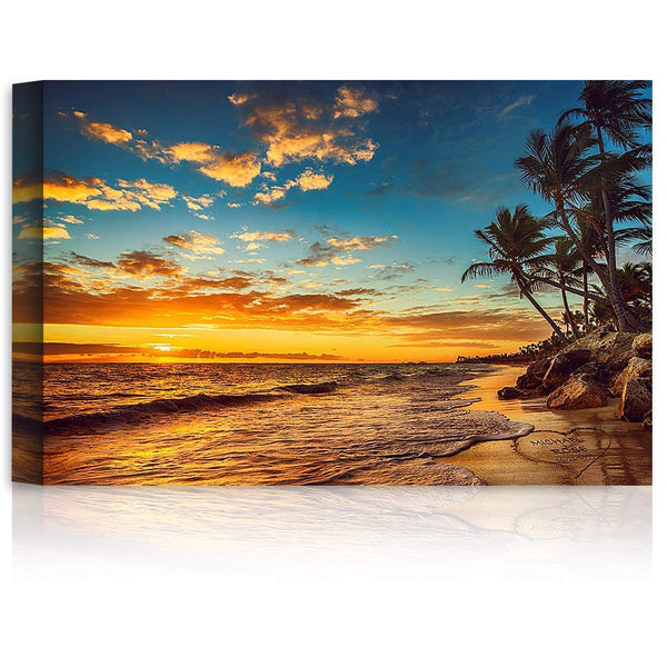 Sunset Beach Love in Heart - Personalized Canvas Printsor Framed Art Artwork with Couple's Names and Date on, Perfect Love Gift for Anniversary,Wedding,Birthday and Holidays.