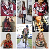 Classic Plaid Infinity Scarf, Elegant Patten, Rayon Soft,Mid-weight for All season