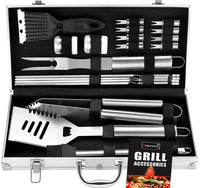 ROMANTICIST 20pc Heavy Duty BBQ Grill Tool Set in Case - The Very Best Grill Gift on Birthday Valentine's Day - Professional BBQ Accessories Set for Outdoor Cooking Camping Grilling Smoking