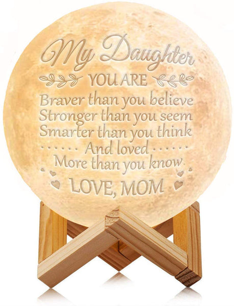 Engraved Moon Lamp Night Light - Brave & Smart Moon Light with Touch Control Brightness - from Mom/Dad to Daughter (ML - from Mom)