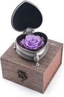hey June Purple Flowers Best Gifts for Women Mother Wife Preserved Real Rose Personalized Gifts for Christmas Anniversary Thanksgiving Mother's Day Birthday Gifts (Purple Rose)