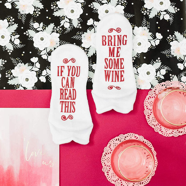 "Haute Soiree - Women's Novelty Socks - ""If You Can Read This, Bring Me Some"" (Wine, Chocolate, Coffee) Novelty Socks"