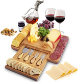 Home Euphoria Natural Bamboo Cheese Board and Cutlery Set with Slide-out Drawer. Serving Tray for Wine, Crackers, Charcuterie. Perfect for Christmas, Wedding & Housewarming Gifts.