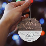 "Our First Christmas Married Glass Ornament – Personalized Rustic Double Hearts Farmhouse – Suncatcher Hanging Print Christmas Tree Date Display 3.5"" Circle 