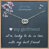 EFYTAL Girlfriend Gifts, Girlfriend Birthday Gift Ideas For Her, Romantic Sterling Silver 925 Small CZ Interlocking Circles Necklace Jewelry for Women, Cute Anniversary / Valentines Day Present