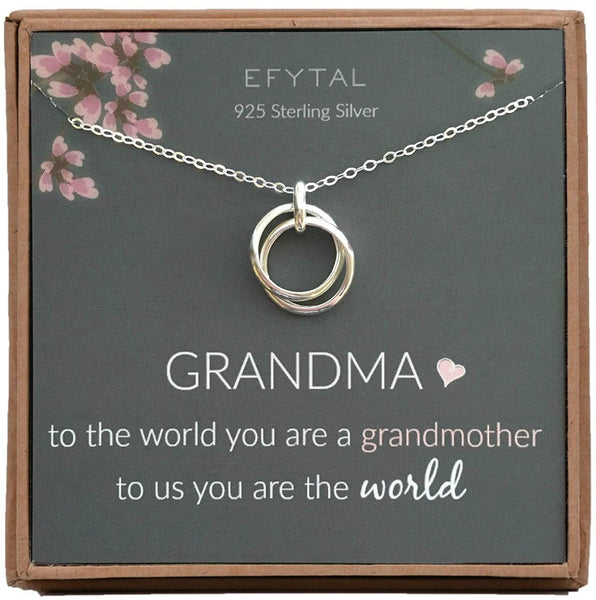 EFYTAL Grandma Gifts, 925 Sterling Silver 2 Thick Interlocking Circles Necklace for Grandmother, Mom Necklaces for Women, Best Birthday Gift Ideas, Pendant Mother's Day Jewelry For Her, Mothers Day