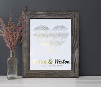 Personalized 1st Anniversary Gift for Him or Her, First Dance Song, Paper Anniversary Gift