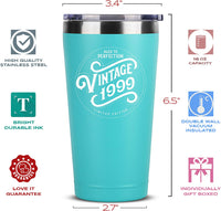 1999 21st Birthday Gifts for Women Men - 16 oz Mint Insulated Stainless Steel Tumbler w/Lid - Vintage 21 Year Old Best Gift Present Ideas for Him Her - Tumblers Party Decorations Supplies Presents