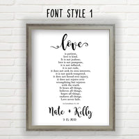 Personalized Wedding Gifts For The Couple (Unframed Print - Multiple Sizes, Love Is Patient, Love is Kind Wall Decor, Great Wedding Gift, Customized Print Includes Names and the Special Date)