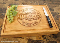 Round Vintage Personalized Engraved Cutting Board, Wedding, Anniversary, Housewarming Keepsae, Birthday, Corporate Gift, Award, Promotion #010