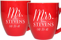 Set of 2 Personalized Mr. and Mrs. Coffee Latte 16oz Mugs for Couple - Custom Engraved Mug Gift for Bride, Groom His, Hers, Husband, Wife (Red)