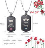 LOYALLOOK Couples Necklaces Bracelets Set for Him and Her,His Queen Her King Couples Jewelry Set Gifts for Lover