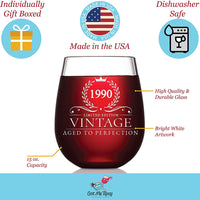 30th Birthday Gifts for Women and Men Turning 30 Years Old- 15 oz. Vintage 1990 Wine Glass - Funny Thirtieth Gift Ideas, Party Decorations and Supplies for Him or Her, Husband, Wife, Mom, Dad