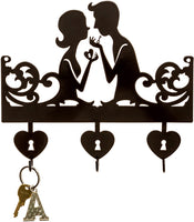 Key to Your Heart Key Holder | Key Holder for Wall | Key Rack Organizer for Entryway and Kitchen - Wall Mount | Housewarming Gift | 3 hook key holder | Black metal key hanger