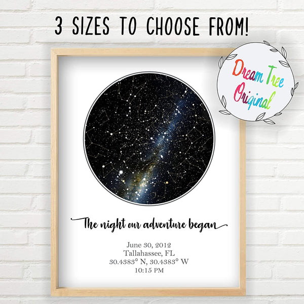 Personalized Star Map - Custom Star Map (Unframed, Multiple Sizes, Star Print, Star Constellation Map Wall Art, Great Gift, Special Occasion, Engagement Gift, Wedding Gift, Anniversary Gift)