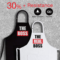 The Boss & Real Boss | 2-Piece Kitchen Apron Set Engagement Wedding Anniversary Bridal Shower Gift for Bride | Wedding Gifts for The Newly Married Couple