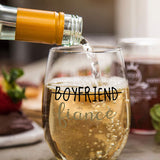 Boyfriend and Girlfriend 15 oz Stemless Wine Glasses (Set of 2) - Unique Engaged Wine Glasses for Fiance – Unique Engagement Gifts For Him and Her