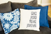 Qualtry Personalized Throw Pillow Covers Family House Decor 18 in x 18 in - Great Birthday Gifts for Mom and Grandma, Also a Unique Warming Gift (2 Names)