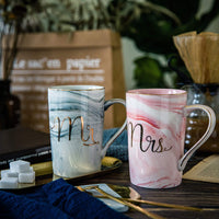 Jumway Mr and Mrs Coffee Mugs - Wedding Gift - Mr and Mrs Mugs Set - for Bride and Groom - Gift for Bridal Shower Engagement Wedding and Married Couples Anniversary - Ceramic Marble Cups 14 oz pink
