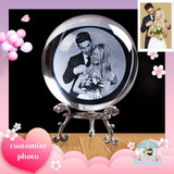 Custom Glass Gift Photo Ball Personalized Crystal Sphere Unicorn Gift for Souvenir Wedding Gifts Girlfriend Present