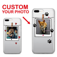 For iPhone 11 Pro 6S XS Max XR 7 7Plus 8 8Plus X Personalized Custom Photo Frame Friends Pet Dog Cat Soft Clear Phone Case