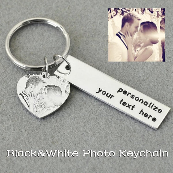 Custom Picture Key Chain,Personalized Photo Keychain,Engraved Photo Key Ring,Gift for Her, Valentines Gift