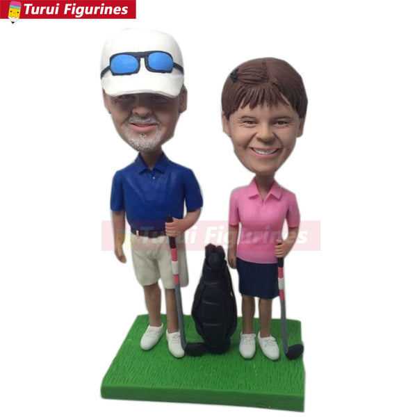 Golfer Girlfriend Boyfriend Valentine Parent Gift Personalized Clay Figurine Based on Customers' Photos Golf Wedding Cake Topper