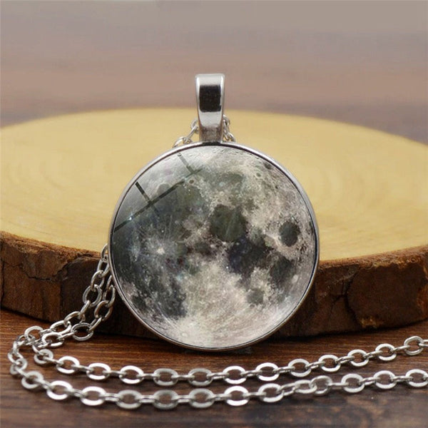 Fashion Casual Unisex Galaxy Grey Moon Crystal Gemstone Chain Silver Necklace Accessories Girlfriend Gifts Party Favor