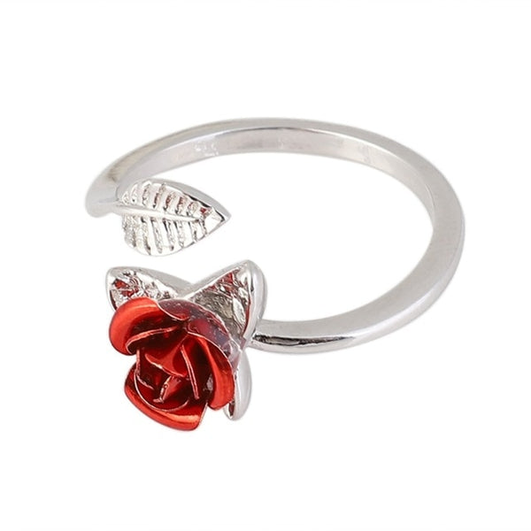 1PCS Beautiful Rose Ring Adjustable For Women Fashion Jewelry For Mother's Day Gift Girlfriend Birthday Gift Party Favor