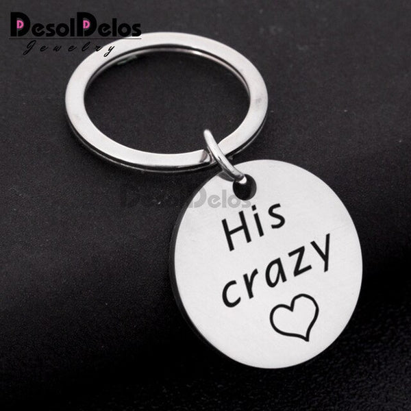 2019 Fashion Jewelry Customized His Crazy/Her Weirdo Key Chain Women Men Keyring Gifts
