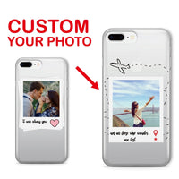 For iPhone 6S XS Max 7 7Plus 8 8Plus X 11 Pro Max Personalized Custom Photo Frame Lover Travel Heart Soft Clear Phone Case