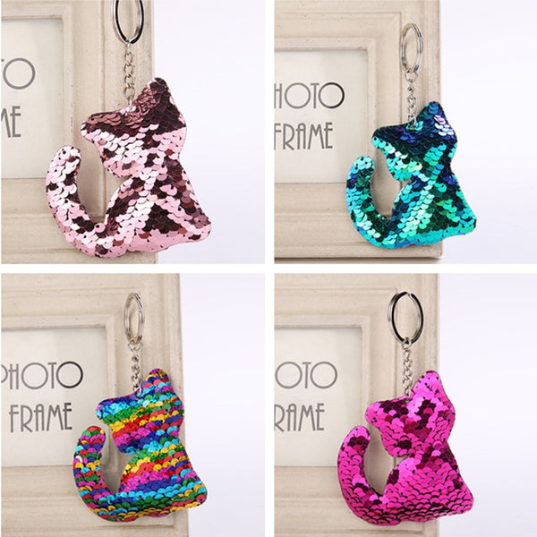 12PCS Best Gift for Girlfriend Sequin Keychain Cat Wedding Gifts for Guests Bridesmaid Gift Party Favors Valentines Day Present