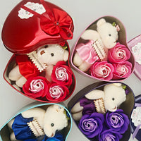 3 Flower-shaped Soap Rose Soap with Little Bear and Heart-shaped Storage Box Romantic Gift for Lovers Girlfriends DEC889