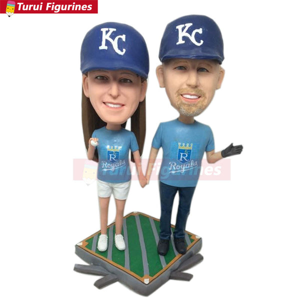 KC Royals Fans Girlfriend Boyfriend Valentines Gift Personalized Clay Figurines Based on Customers' Photos Baseball Wedding Cake