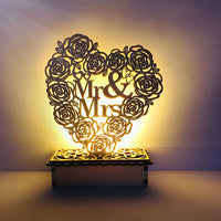 Wooden Ornaments Mr&Mrs Wedding Decoration Rustic Wedding Favors Gifts DIY Wedding Valentine Gift For Girlfriend LED Night Light