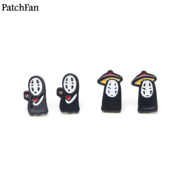 12pairs/lot Patchfan Spirited Away No face man design for earrings party favors jewelry gifts for girlfriend for presents A1820
