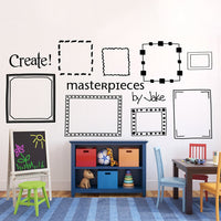 Custom Kids Art Display Frames Picture Frame Wall Decals Playroom Decor Masterpieces Wall Sticker For Kids Room Decoration B402