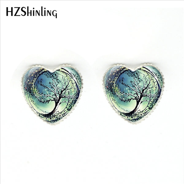 2017 New Fashion The Tree of Life Heart Stud Earrings Handmade Art Photo Glass Dome Divergent Tree Heart-shaped Women Earring