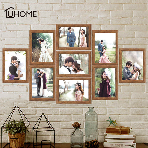 9Pcs/set Photo Frame Set Picture Frame Family Collage Photo Frames Wall Hanging Photo Picture Holder Display Home Wall Decor