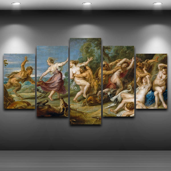 Poster HD Print Painting 5 Panel Rubens Peter Paul Diana And Her Fairies Canvas Decor Wall Art Modular Picture For Living Room