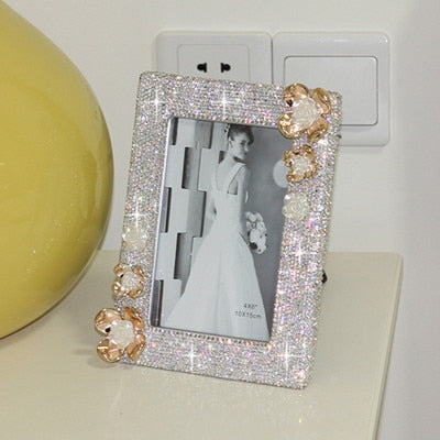 Crystal flower Photo frame wedding decoration Picture frame for home Photo frames Wedding gift for her